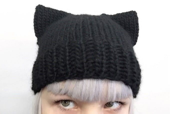 cat-inspired beanie