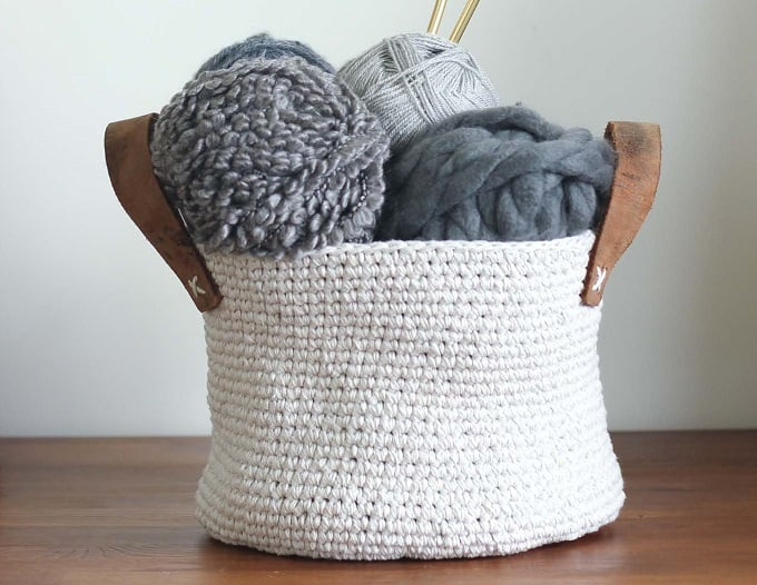 Twine Leather Free Crochet Basket