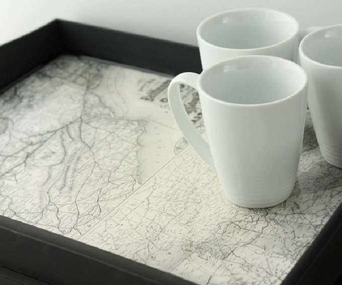 Vintage Map Tray
