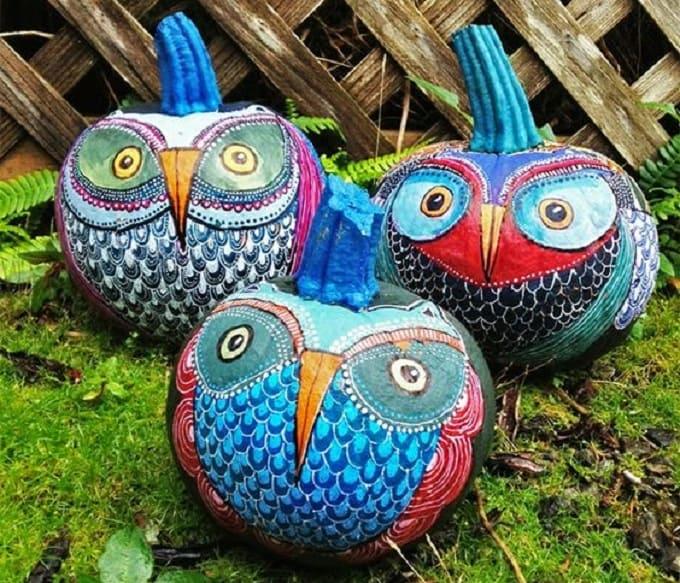 DIY painted owl pumpkins