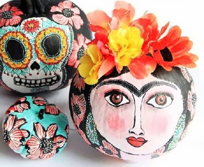 Frida Kahlo inspired painted pumpkin