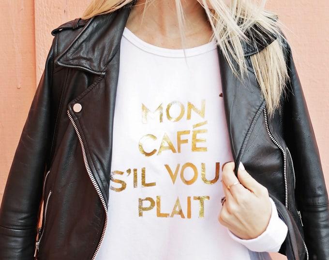 gold foil quote sweatshirt