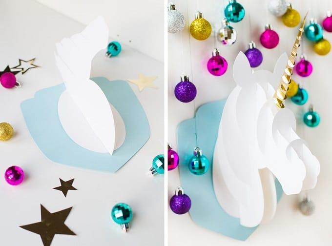 3D paper craft unicorn head