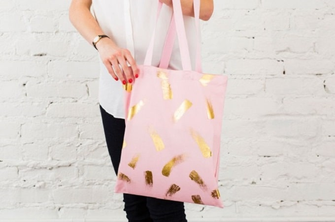 diy gold foil tote bag