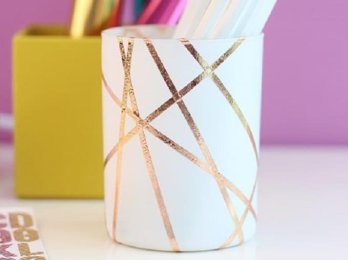 gold foil pencil cup