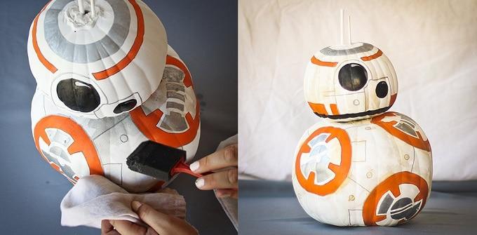 pumpkin version of BB-8 from Star Wars