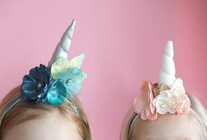 DIY unicorn horn headbands