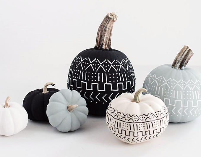 DIY mud cloth painted pumpkins