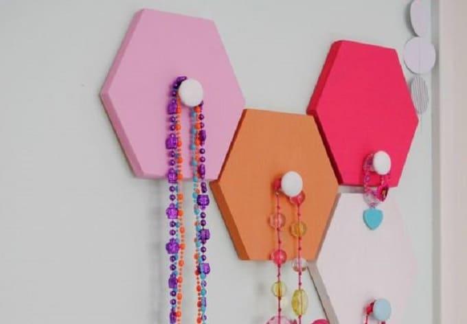 DIY honeycomb wall hooks