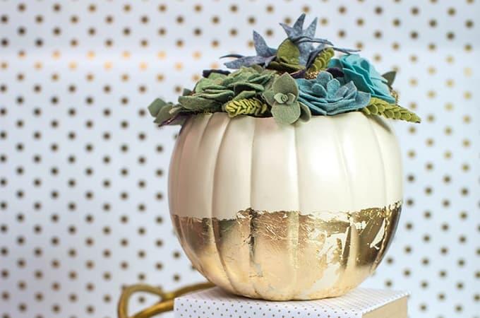 gold foil pumpkin centerpiece