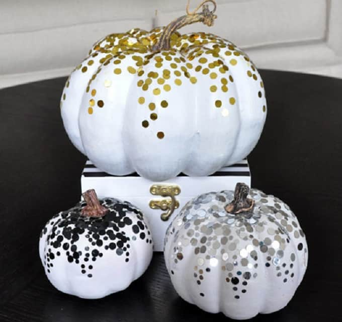 metallic confetti pumpkins