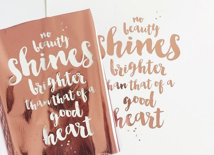 DIY gold foil quote print