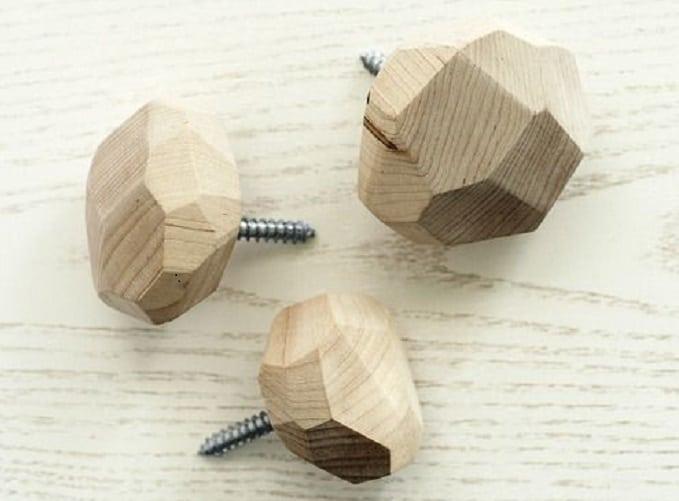 geometric wooden wall hooks