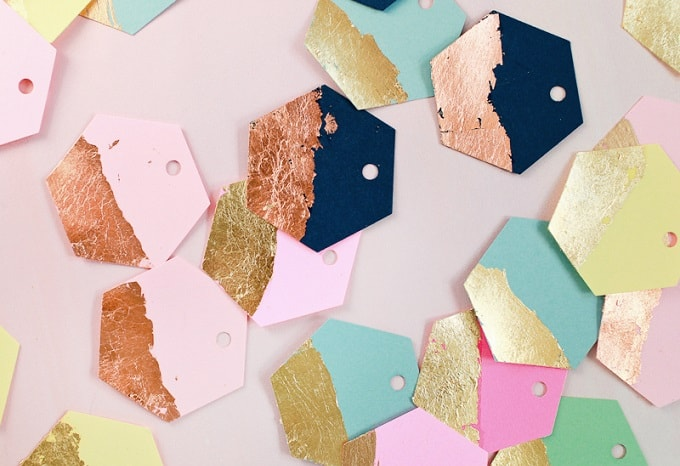 gold and copper leaf hexagon gift tags