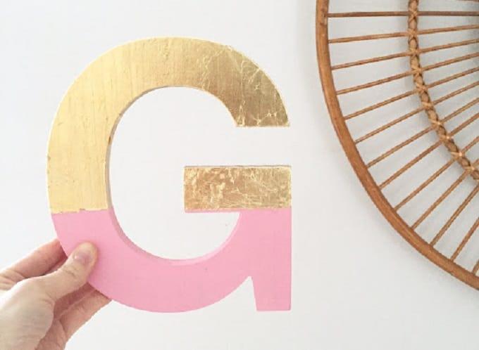 gold foil letter art