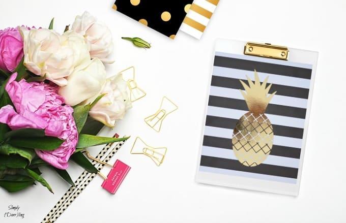 gold foil pineapple prints