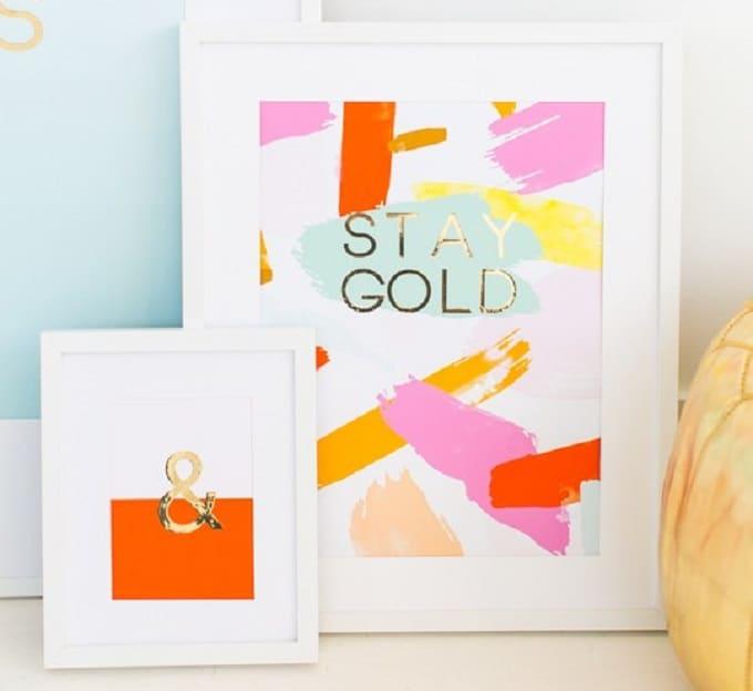 gold foil wall art