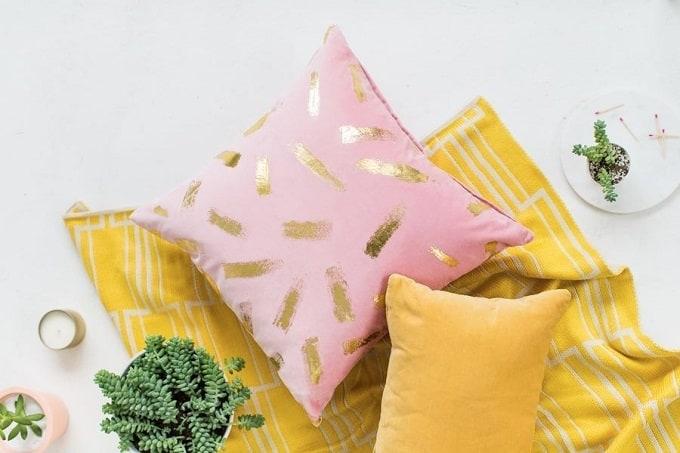 gold foil brushstroke pillow