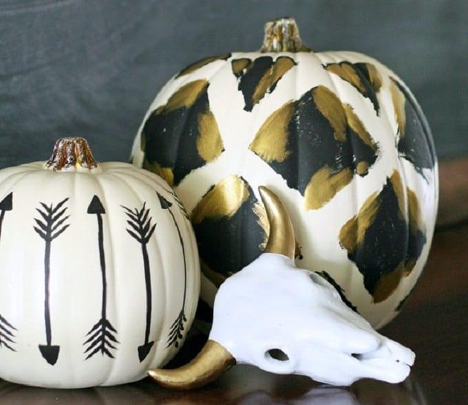 tribal inspired painted pumpkins