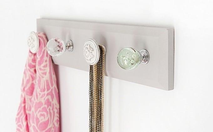 DIY wall hooks using antique door handles