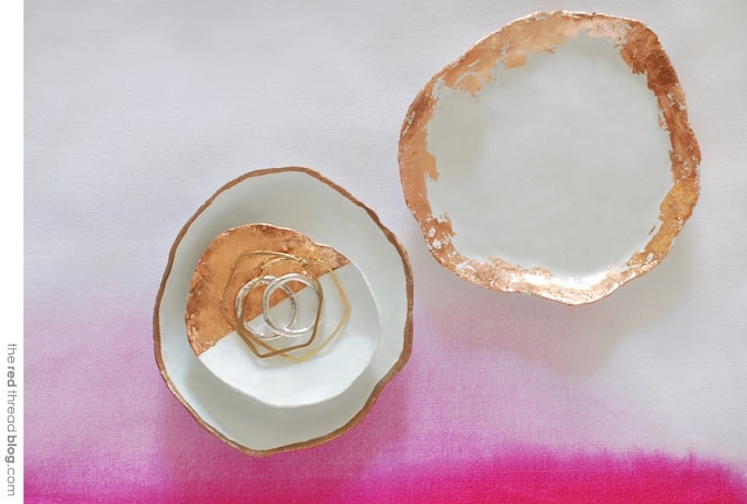 gold foil clay bowls