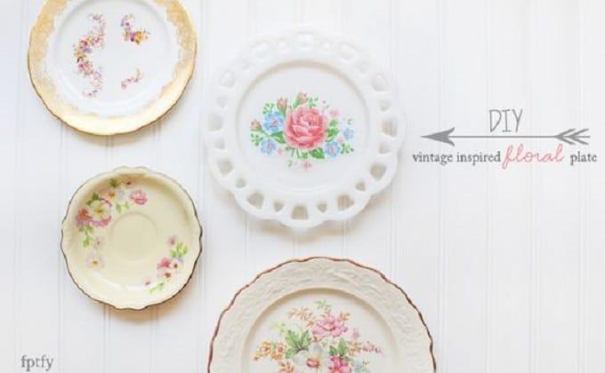 DIY floral plate