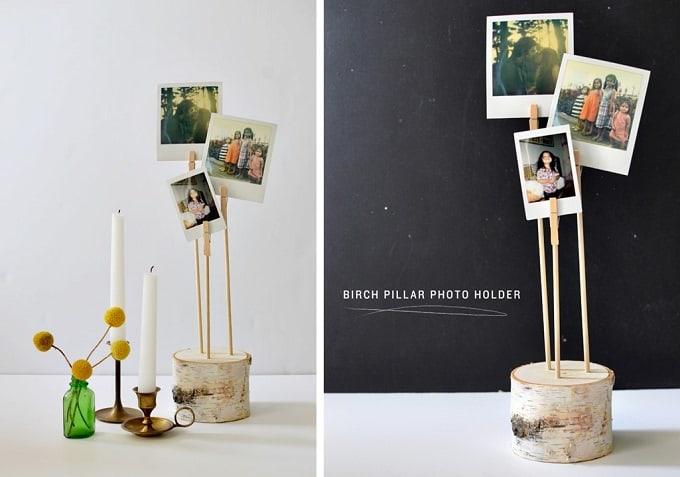 DIY birch pillar photo holders