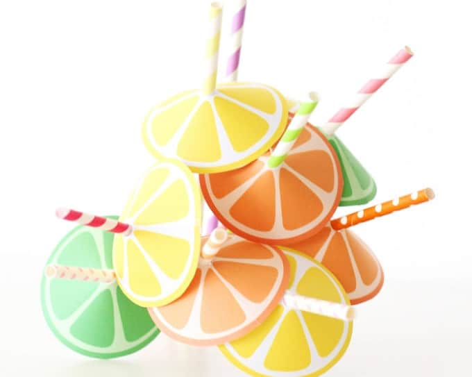 citrus straw umbrellas