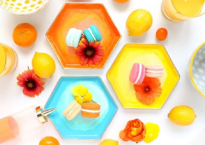 hexagon DIY dinner plates