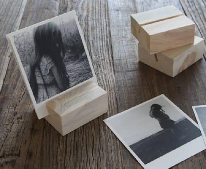 wood block photo holder