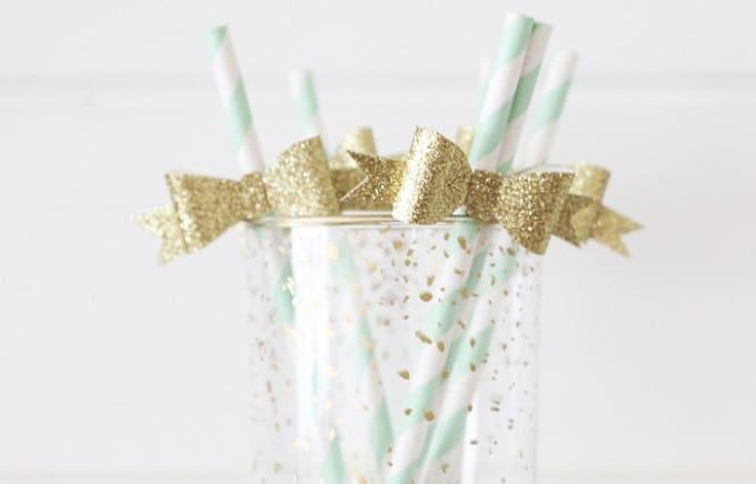 DIY gold bow straws