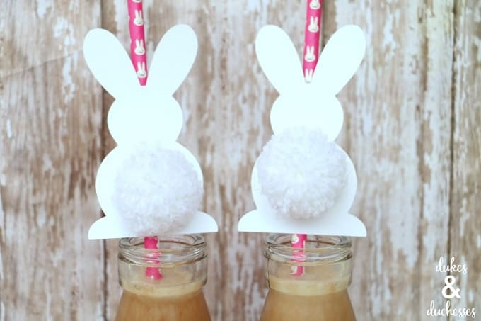 DIY bunny tail straw toppers