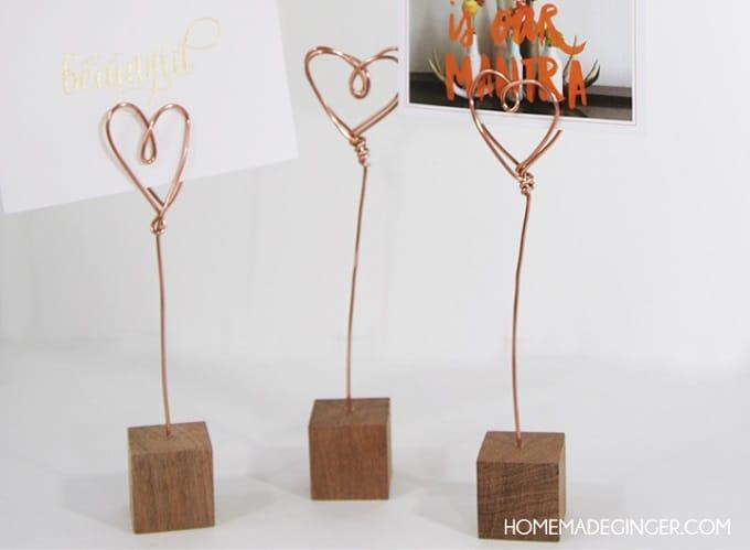 copper wire photo holders