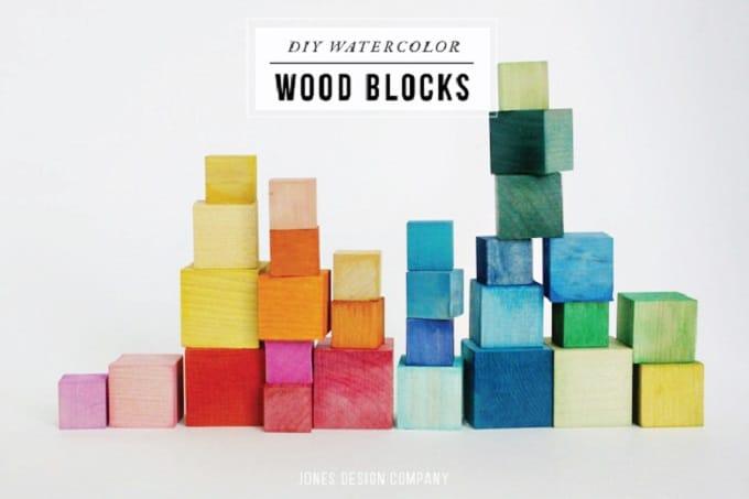 DIY watercolor wood blocks