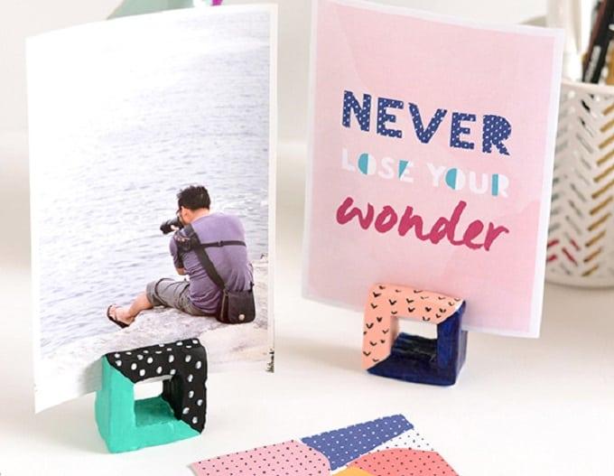 square DIY photo holders
