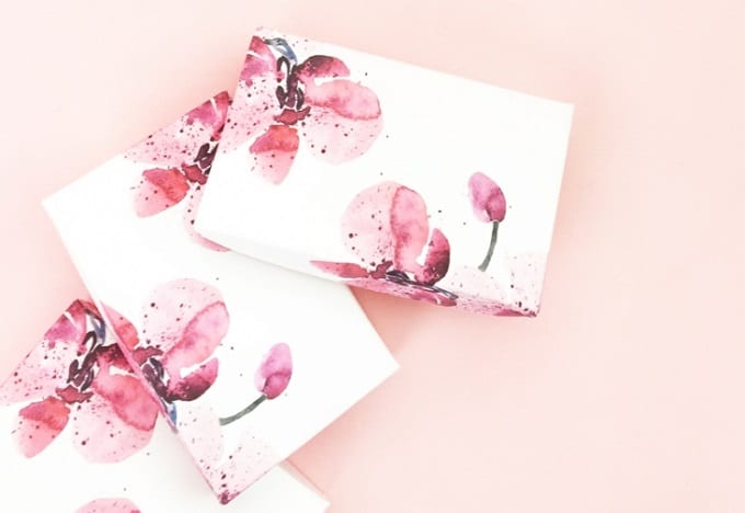 watercolor floral gift boxes
