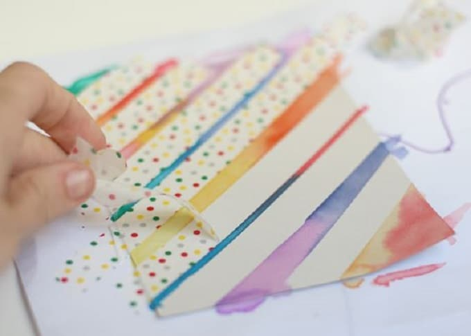watercolor washi tape cards