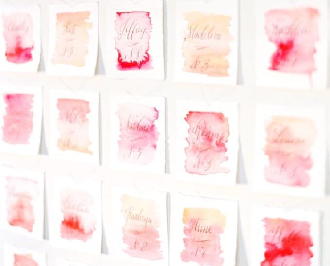 watercolor escort cards
