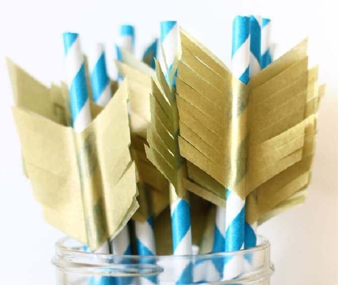 bohemian-inspired arrows straw toppers