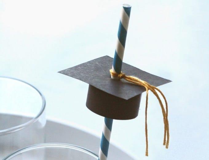 DIY academic cap straw toppers
