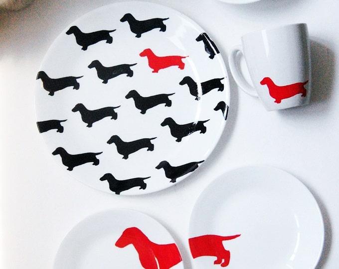 DIY dachshund plates