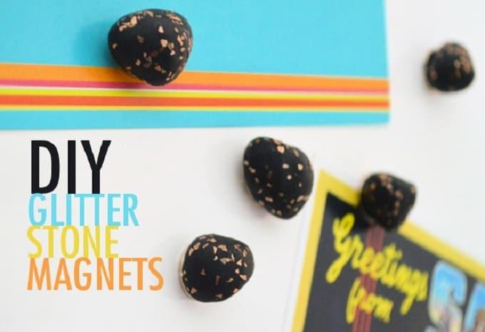 glitter stone magnets