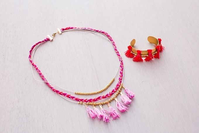 tassel necklace and bracelet