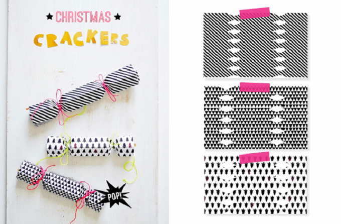 monochrome Christmas crackers