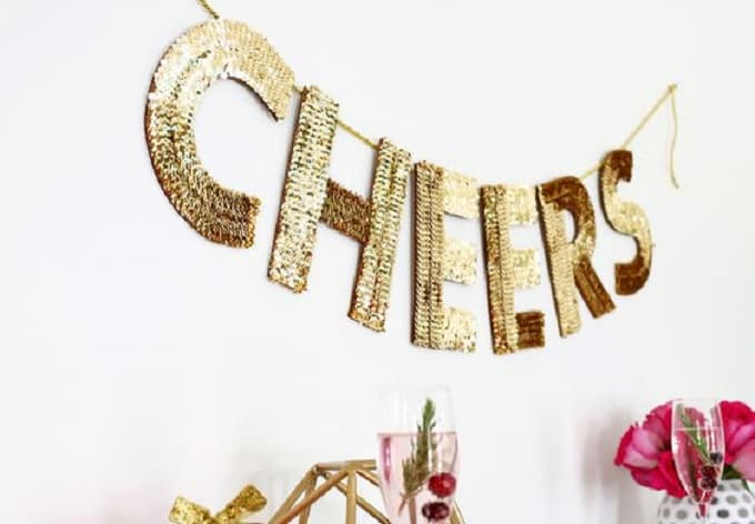 DIY sequin banner