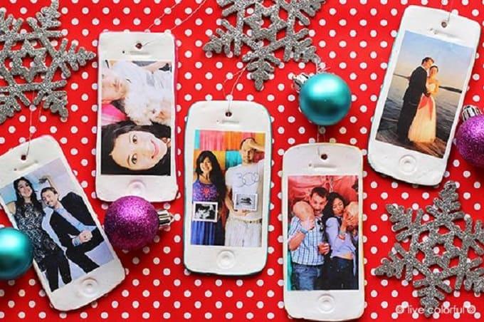 DIY phone photo ornaments