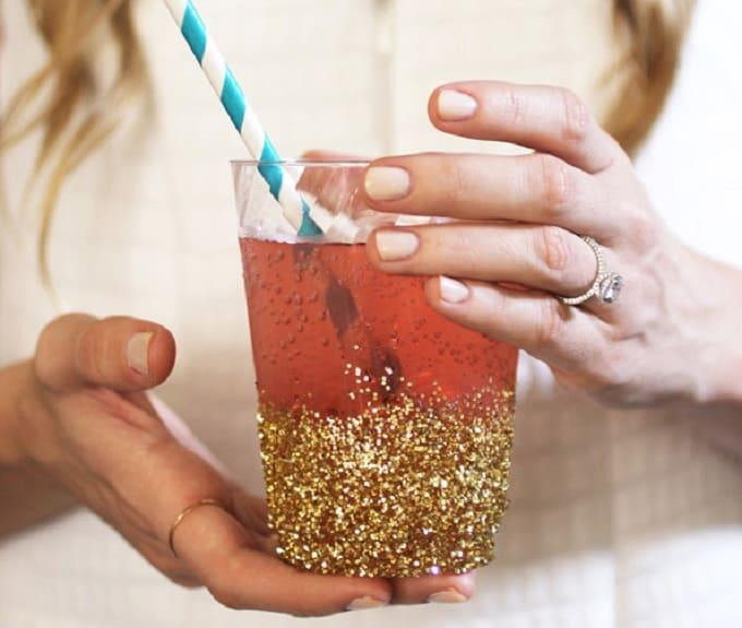 glitter dipped cups