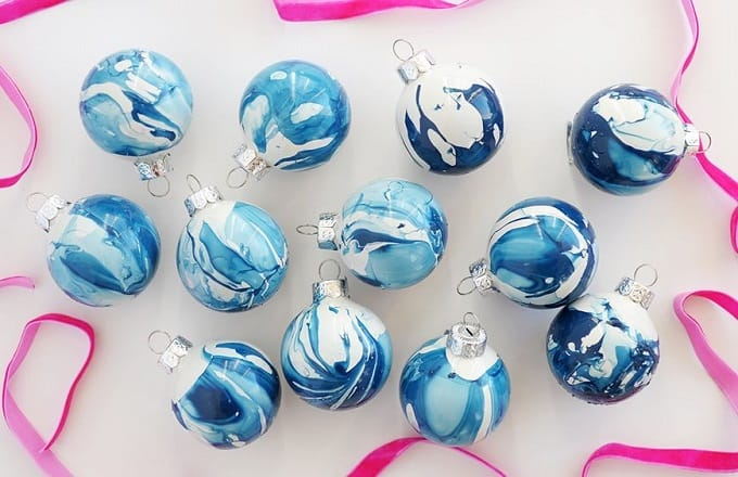 blue and white marbled ornaments