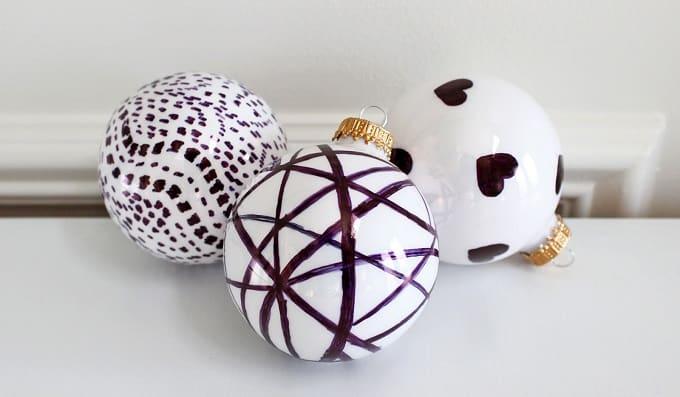 diy handpainted holiday ball ornaments
