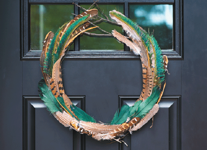 feather and twig fall wreath